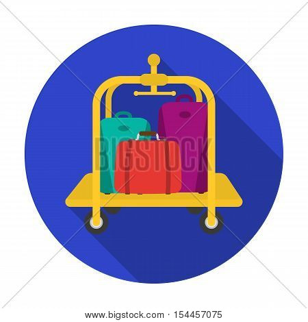 Luggage cart icon in flat style isolated on white background. Hotel symbol vector illustration.