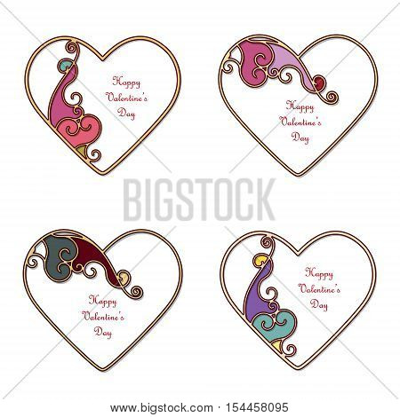 Elegant gold heart silhouettes with filigree ornamental asymmetric decor and place for text. Valentine's day templates set isolated on white.