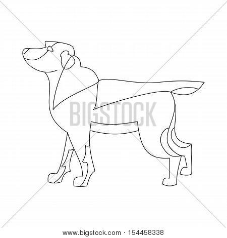 Labrador retriever dog. Doggy purebred in linear style line, vector illustration