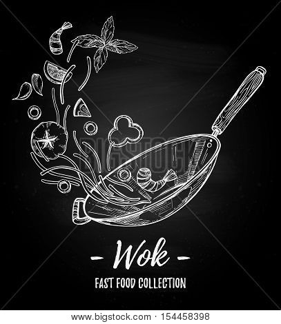 Hand Drawn Vector Illustration - Wok. Wok Pan, Chinese Noodles, Tomato, Pepper, Shrimp, Olive, Basil