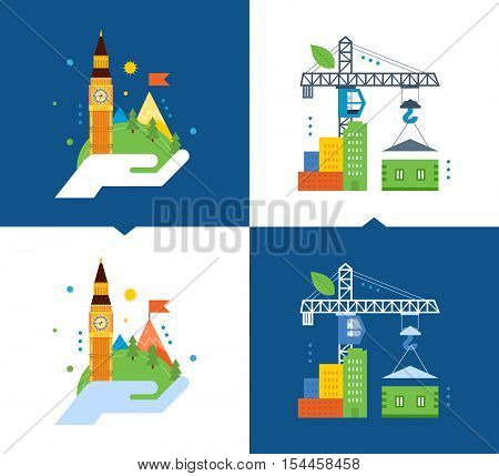 Concept of illustration - support for environmental cleanliness, eco friendly, ecology and construction of ecological houses. Vector illustrations on a light and dark background.
