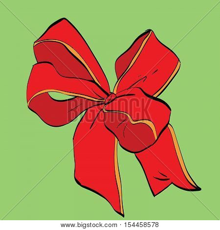 Red festive bow sash. Vector illustration. Packing and gifts