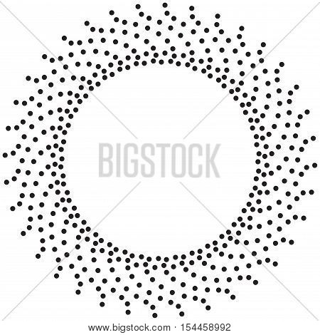 Abstract circle texture. Screen printing pattern. Concentric dots pattern. Radial frame. Abstract vortex. Halftone frame. Round halftone frame isolated on white. Textured design element.