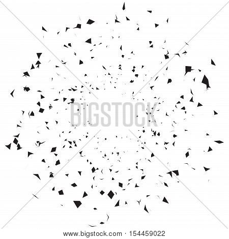 Black and white vector texture a lot of large and small dots arranged randomly cosmic dust explosion effects textured design element chaotic pattern. Abstract background