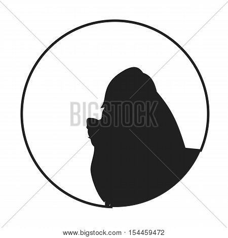 Silhouette of a dog head yorkshire terrier. Pet young companion, vector illustration