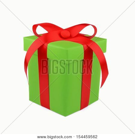 Light green gift box with red ribbon and bow isolated on white background