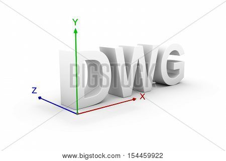 DWG axis coordinate system white background 3d illustration