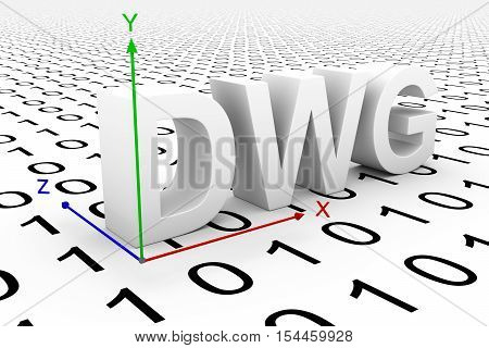 DWG to a binary code coordinate system 3D illustration