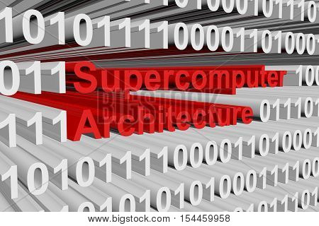 Supercomputer architecture in the form of binary code, 3D illustration