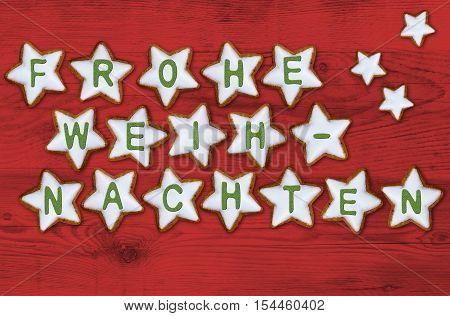Cinnamon Star Card Frohe Weihnachten (in German Merry Christmas) Concept