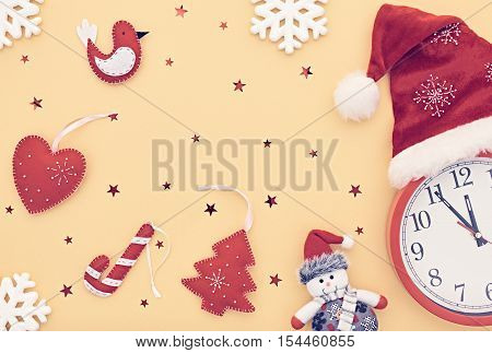 New Year background decoration. Clock, Handmade holiday, Christmas Santa hat, Happy Snowman, Snowflakes. Fun New Year 2017.XMAS Design Ornament. Festive Art New Year Greeting Card.Retro Vintage