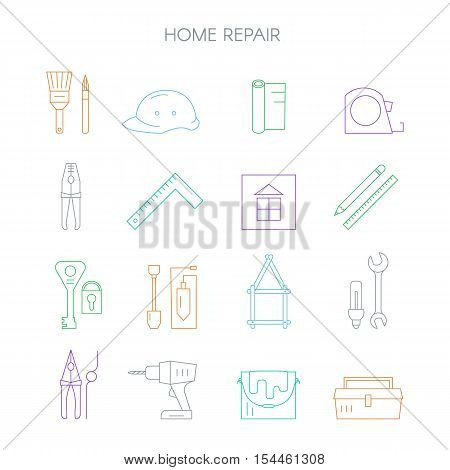 Outline web icons set - building construction and home repair tools