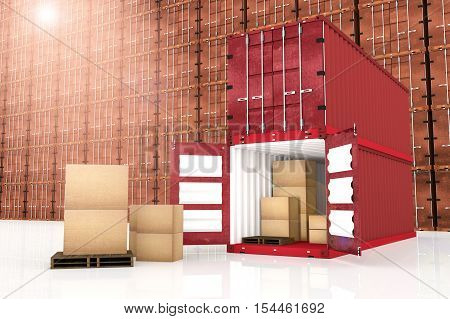 3D rendering : illustration of stacked red container with cardboard boxes inside the container with red container wall in background. business export import concept.