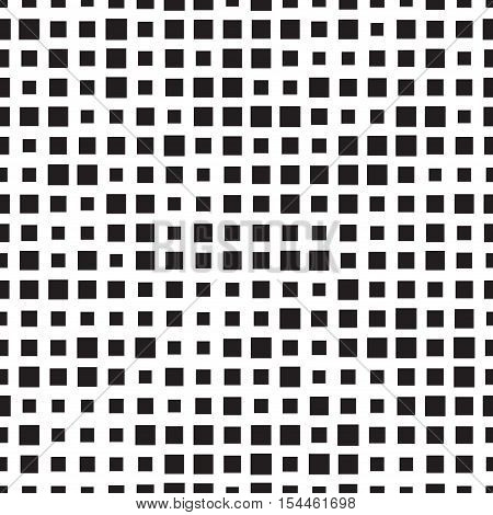 Seamless squares pattern. Halftone effect. Overlay background texture. Black and white trendy print. Seamless fabric swatch. Geo geometrical seamless background. Simple textured vector pattern.