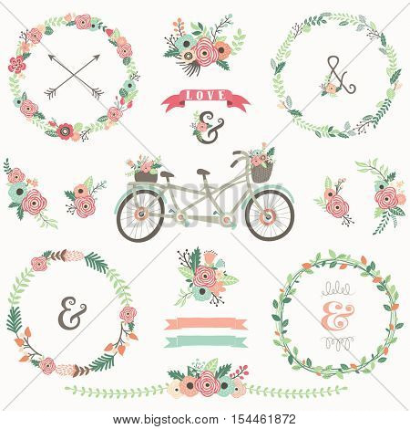 Retro Floral Bicycles Elements
