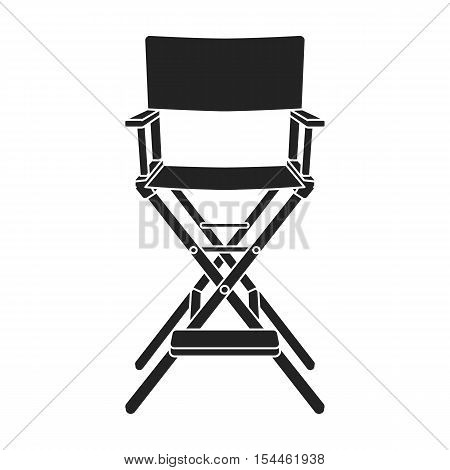 Director's chair icon in black style isolated on white background. Films and cinema symbol vector illustration.