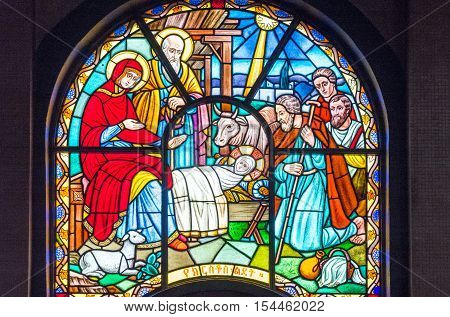 Addis Ababa Ethiopia - January 14 2016: A colorfull stained glass window of the Cathedral of the Holy Trinity
