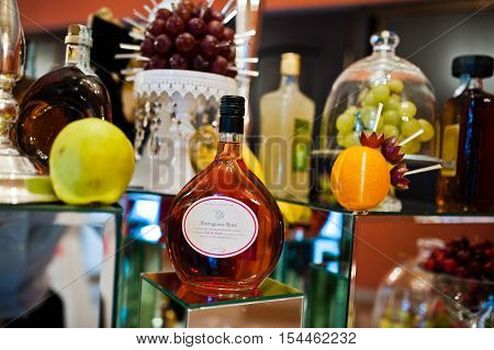 Hai, Ukraine - October 25, 2016: Wine Selection Portuguese Rose On The Buffet Table