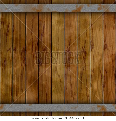 dark brown wood barrel deck board seamless background with nine planks and two rusty metal hoops