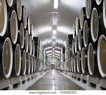 Massandra, Russia - November 09, 2015: Barrels of wine in the cellar of the winery Massandra Crimea