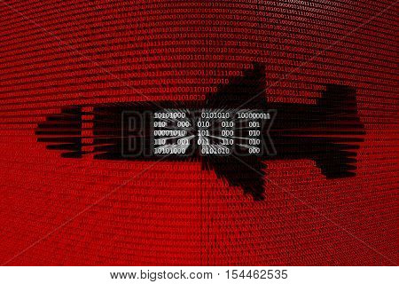 BOT in the form of cruise missiles in binary code 3D illustration