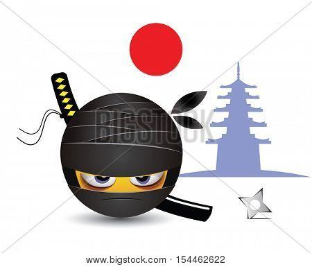 Smile dressed as ninja. Illustration of a ninja warrior. Traditional school of martial arts.