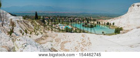 Pammukale, Turkey - July, 2015: panoramic view of Pammukale near modern turkey city Denizli