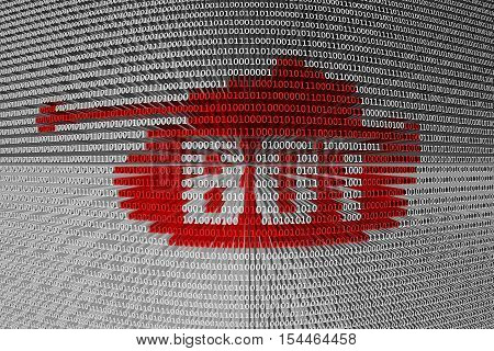 BOT red tank binary code 3D illustration
