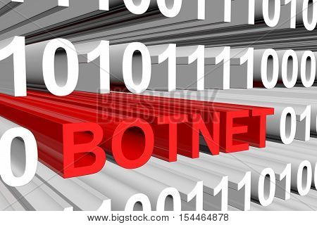the botnet is presented in the form of binary code 3d illustration