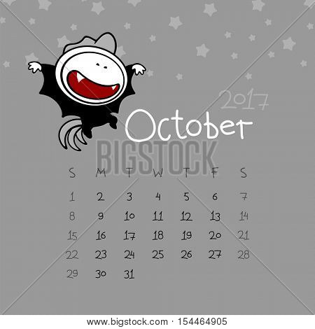Calendar for the year 2017 - October (raster version)