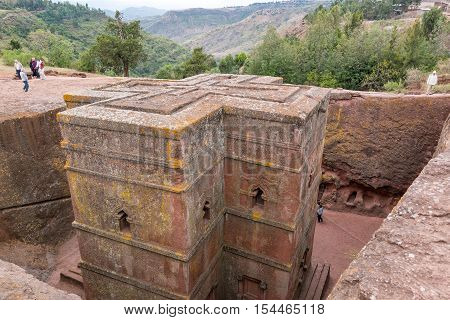 Lalibela Ethiopia - January 15 2016: The monolithic underground Sain George Orthodox church
