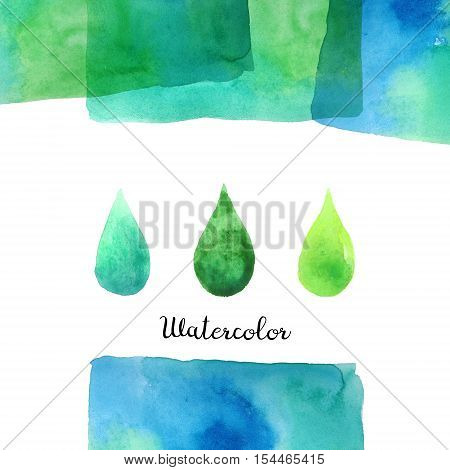 Background with hand drawn watercolor elements. Handmade watercolor rectangle with multiply effect isolated on white background. Ready to print big background.