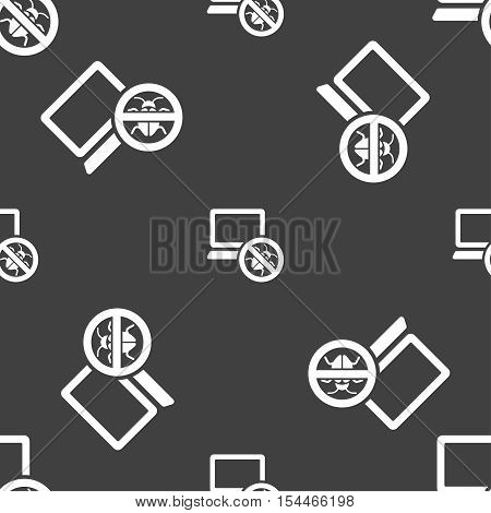 Bug Find Icon Sign. Seamless Pattern On A Gray Background. Vector
