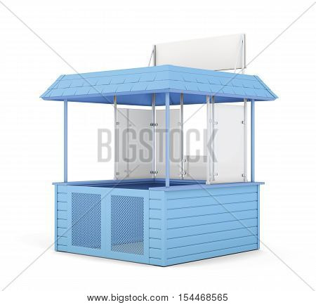 Blue promo counter isolated on white. 3d rendering.