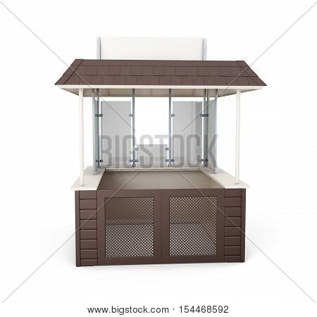 Trade Stall Isolated On White Background. 3D Rendering