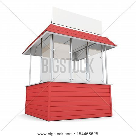Red Trade Stall Isolated On White Background. 3D Rendering