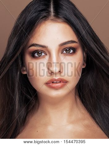 cute happy young indian woman in studio close up smiling, fashion mulatto