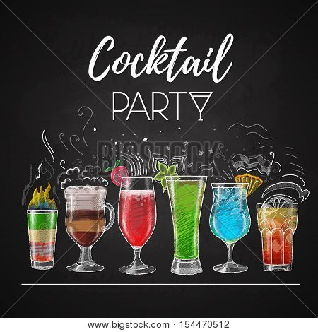 Vector illustration of Chalk drawings. cocktail menu