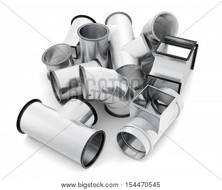 Duct Fittings Isolated On A White Background. 3D Rendering