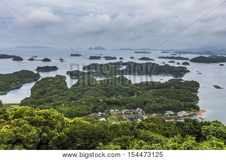Kujuku Islands Overlook In Cloudy Day In Sasebo, Kyushu.