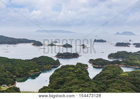 Famous Kujuku Islands Overlook In Sasebo, Kyushu.