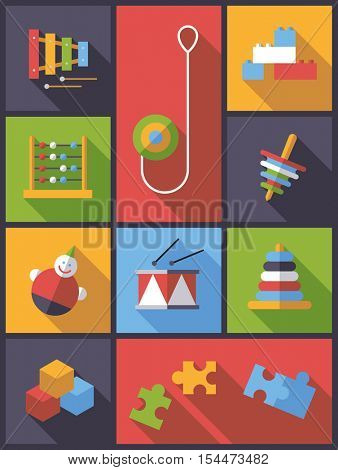 vertical flat design long shadow illustration with various educational toys symbols