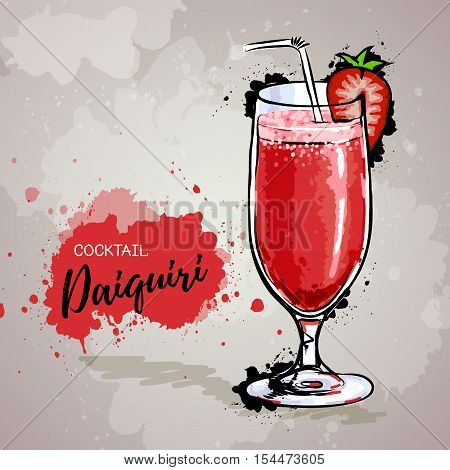 Vector Hand drawn illustration of cocktail daiquiri