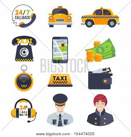 Taxi icons set with order driver isolated on white