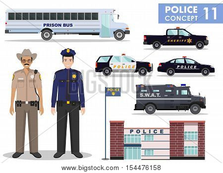 Detailed illustration of police department police car police officer sheriff armored S.W.A.T. truck and prison bus in flat style on white background.