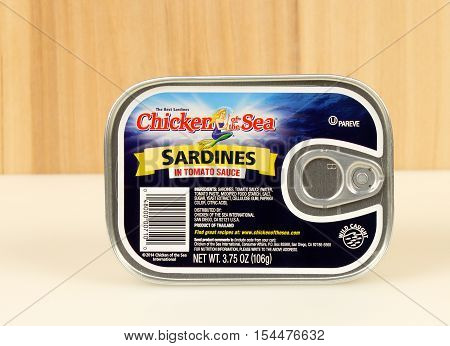 RIVER FALLS,WISCONSIN-NOVEMBER 01,2016: A can of Chicken of the Sea brand sardines in tomato sauce.