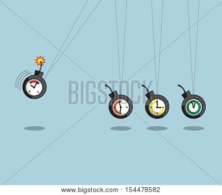 newtons cradle with time bomb time management concept vector illustration