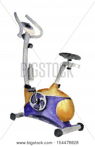 watercolor sketch of exercise bike on white background