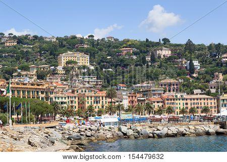 Santa Margherita Ligure, Italy - June 28, 2016: Townscape of Santa Margherita Ligure and Mediterranean Sea. Santa Margherita Ligure is a comune in the Metropolitan City of Genoa in the region Liguria, located about 35 kilometres southeast of Genoa.