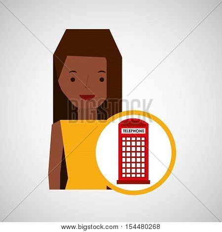 girl cartoon travel london box red telephone design, vector illustration  graphic